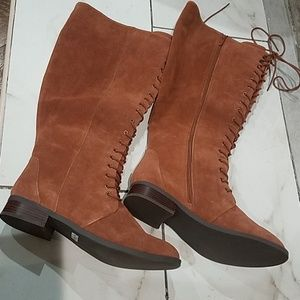 Brown knee high lace up boots